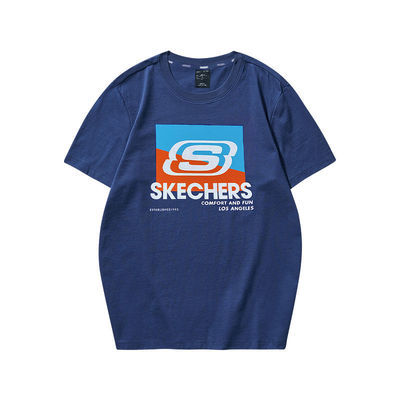 92754/Skechers斯凯奇短袖t恤运动休闲时尚T恤男女款印花针织短袖衫