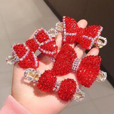 26545/韩国东大门新年红色水钻蝴蝶结发夹女爱心满钻鸭嘴夹气质边夹碎发
