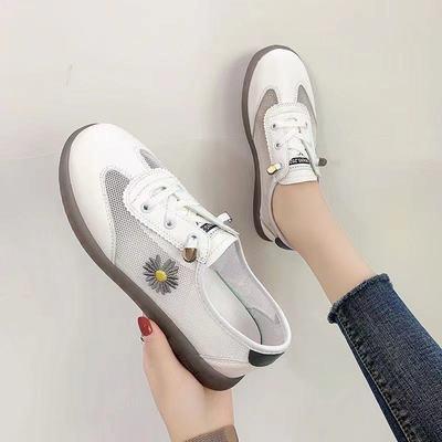 65314/鞋子女2021夏新款小白鞋网面软底牛筋透气防滑厚底平底板鞋女凉鞋