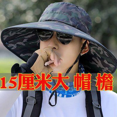 31539/遮阳帽子男夏天钓鱼户外凉防晒太阳透气夏季休闲男士潮夏款渔夫帽