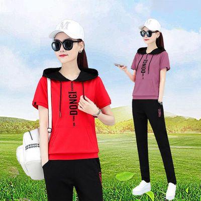 纯棉大码宽松休闲连帽短袖套装女夏季新款韩版运动跑步服时尚百搭