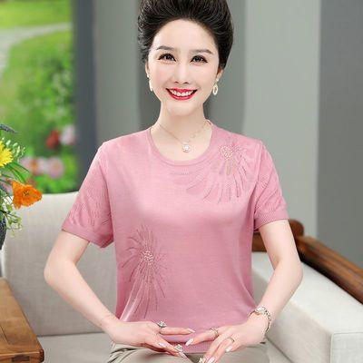 18348/妈妈夏季小衫冰丝清凉短袖t恤打底衫中老年女宽松薄款上衣针织衫