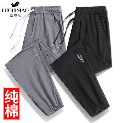 富贵鸟100%棉夏季休闲裤子男薄款宽松潮流百搭束脚长裤男款工装裤