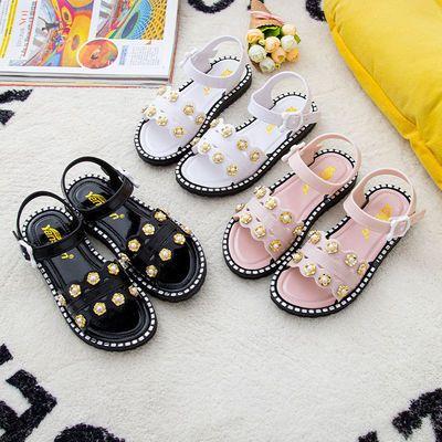35137/女童凉鞋夏季时尚公主鞋新款洋气中小童防滑透气百搭柳钉女凉鞋潮