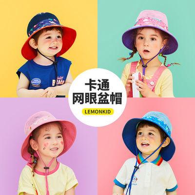 柠檬宝宝夏季儿童渔夫帽双面戴卡通印花中小童幼儿户外遮阳防晒帽