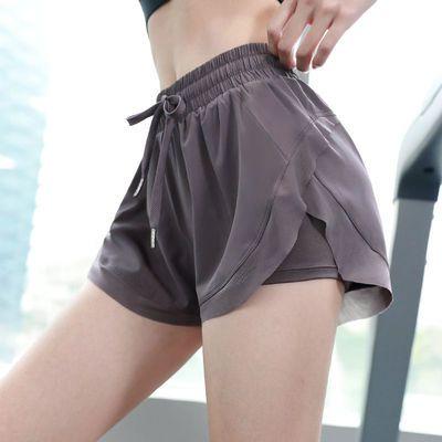 夏季运动跑步短裤女宽松吸汗透气假两件防走光高腰速干健身瑜伽裤