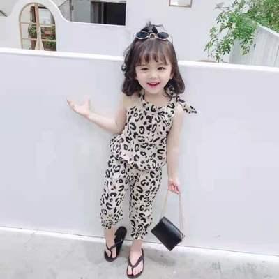 女童韩版夏装吊带豹纹套装薄款雪纺中小童女宝宝新款长裤潮两件套