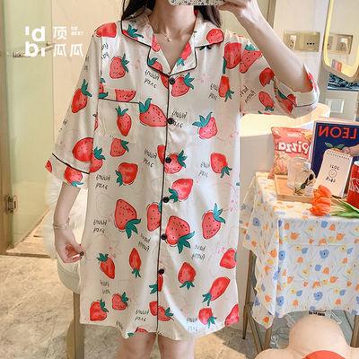 30557/顶瓜瓜夏季丝绸薄款睡裙女开衫短袖中裙夏天少女甜美草莓睡衣裙子