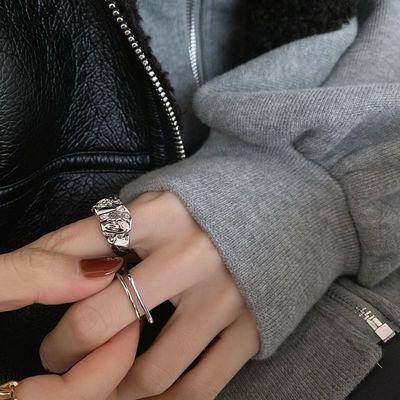 70676/学生韩版纯银金色褶皱款食指开口戒指女ins不掉色小众设计潮指环