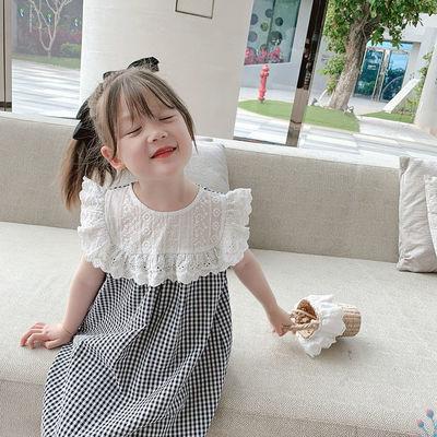 女童连衣裙夏装2021新款儿童洋气格子裙花边裙韩版网红韩版公主裙