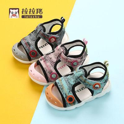 36417/拉拉猪夏季男童儿童机能学步鞋女小童凉鞋宝宝婴儿包头鞋子1-3岁2