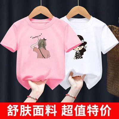 女童短袖T恤儿童女宝宝纯棉夏装2021夏季新款童装卡通洋气上衣潮