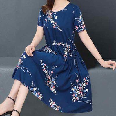 2021中老年夏季新款碎花中长裙大码女装遮肉显瘦印花连衣裙减龄韩
