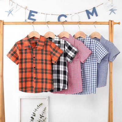 儿童短袖衬衫夏装2021新款童装中大童宽松洋气小孩半袖格子上衣