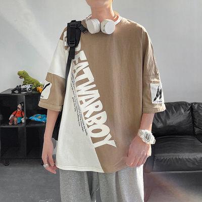 36091/短袖t恤男士2021夏季韩版潮流日系纯棉圆领五分袖ins潮牌宽松港风