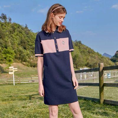 过膝polo连衣裙女夏季宽松遮肚大码翻领气质休闲运动长款T恤裙潮