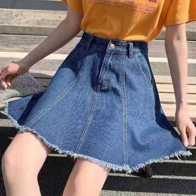 13785/牛仔短裙夏半身a字伞裙高腰大裙摆宽松休闲大码女装200斤胖mm