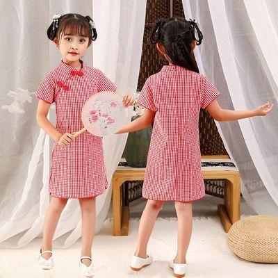 女童连衣裙2021新款儿童网红裙子棉麻公主裙童装女夏季女宝宝旗袍