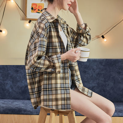 73287/新款2021年春款新时尚格子衬衫女长袖衬衣外套韩版设计感小众上衣