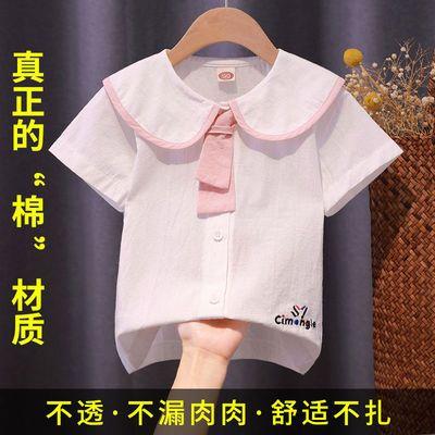 女童短袖衬衫打底衫纯棉透气2021新款洋气韩版时尚公主海军领T恤