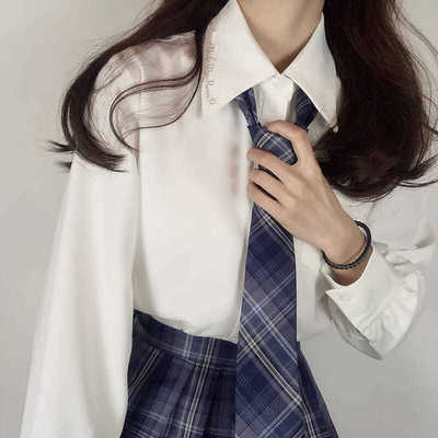 16254/JK制服刺绣衬衫女长袖基础款2020新款宽松学生米白色衬衣上衣春夏