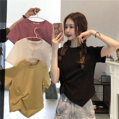 39338/夏季新款棉设计感小众高腰短款宽松休闲上衣纯色打结短袖T恤女