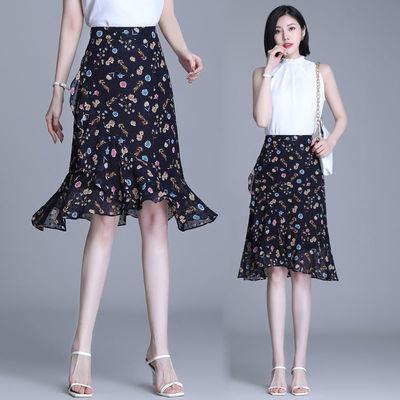 13724/碎花雪纺半身裙女夏季2021年新款垂感高腰显瘦a字鱼尾中长款裙子