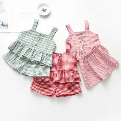 儿童女套装夏季韩版格子露背女宝宝时髦上衣短裤两件套小童洋气潮