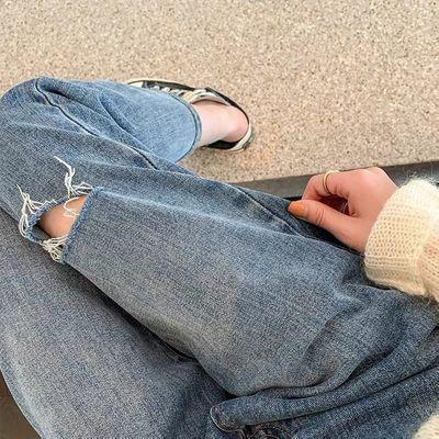 63893/破洞牛仔裤女遮胯宽松显瘦九分裤大码胖mm梨型身材薄乞丐裤子