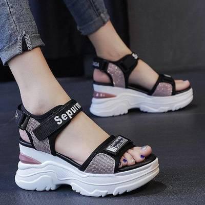 36589/运动凉鞋女2021夏季新款百搭网红松糕厚底坡跟平底学生软底沙滩鞋