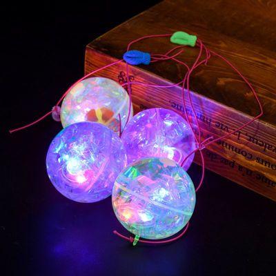 39170/发光弹力球闪光跳跳球带绳子地摊玩具大人小孩互动夜光球货源批发