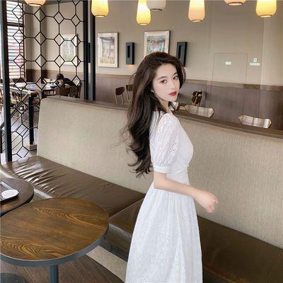 39943/2021年夏季新款女可甜可盐法式白色长裙设计感轻熟风甜美连衣裙子