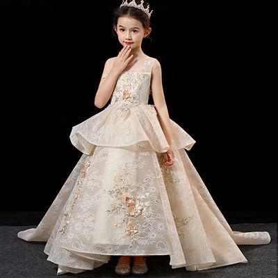 39552/儿童礼服公主裙洋气中大童钢琴演出服蓬蓬纱女童拖尾走秀晚礼服
