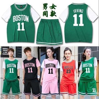 24691/定制男女生篮球服套装韩版宽松潮流运动服短袖假两件套学生篮球衣