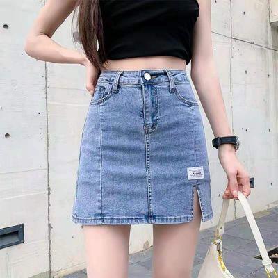 15931/牛仔裙短裙女夏季2021新款半身裙高腰a字裙辣妹包臀开叉裙子ins潮