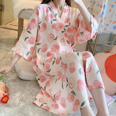 40860/睡裙女夏季纯棉纱布和服睡袍春秋薄款日系汗蒸服日式浴袍夏天睡衣