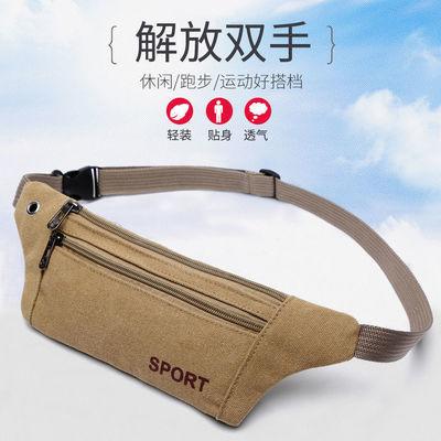 2021新款手机腰包户外新款纯帆布贴身腰包女男运动跑步休闲胸包