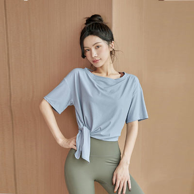 35152/专业瑜伽服上衣女夏季大码健身服性感网红宽松运动T恤短袖速干衣