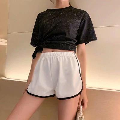 运动短裤女2021年夏季新款松紧腰百搭韩版宽松高腰休闲阔腿裤子潮