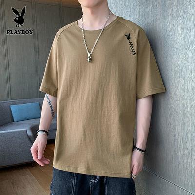 36232/花花公子男士短袖t恤夏季潮流ins薄款潮牌半截袖简约印花纯棉体恤