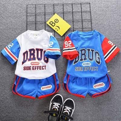 童装男女儿童夏季运动套装宝宝2021新款洋气棒球服短袖短裤两件套