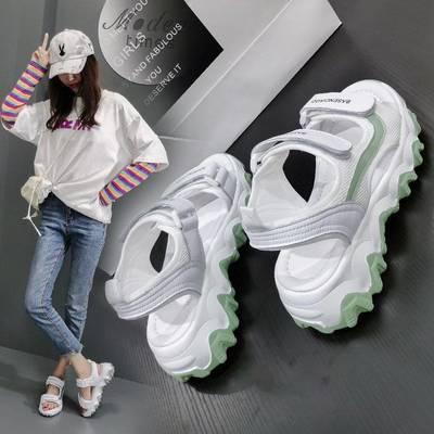 女生网红街拍同款时尚运动凉鞋平底魔术贴拼色露趾新款潮流凉鞋