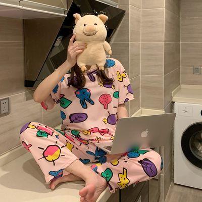 29504/睡衣女春秋夏季短袖长裤大宽松韩版清新可爱甜美学生家居服套装