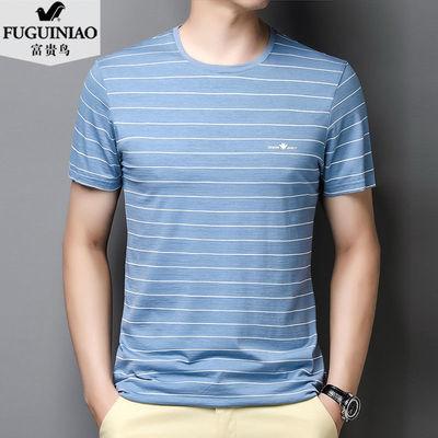 富贵鸟圆领短袖t恤男冰丝夏新款半袖中年男士条纹透气宽松体恤衫