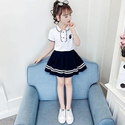 76519/童装女童套装2021新款夏装儿童裙子夏季短袖jk制服学生套装洋气潮