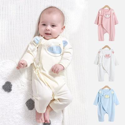 新生儿连体衣春秋满月男女宝宝可爱哈衣夏季婴儿纯棉长袖睡衣爬服