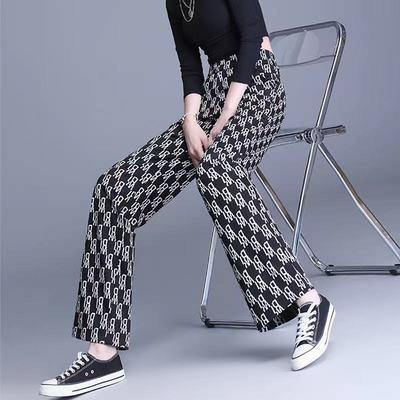 简约清新字母阔腿裤高腰宽松直筒运动气质时尚新款休闲洋气2021