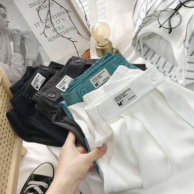 34090/时髦设计感白色束脚西装裤女夏2021新款小个子冰丝宽松显瘦哈伦裤