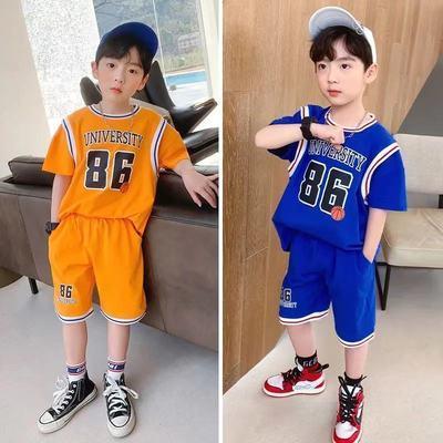 儿童夏季套装2021新款男女童篮球服夏装中大童户外短袖速干俩件套