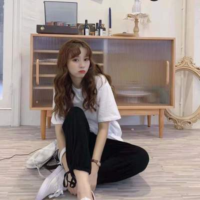 56306/单/套装2021夏后背开叉个性纯色T恤+百搭高腰束脚休闲裤女两件套